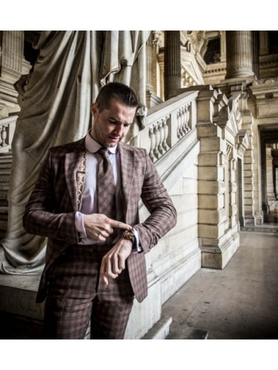 Brown checked suit