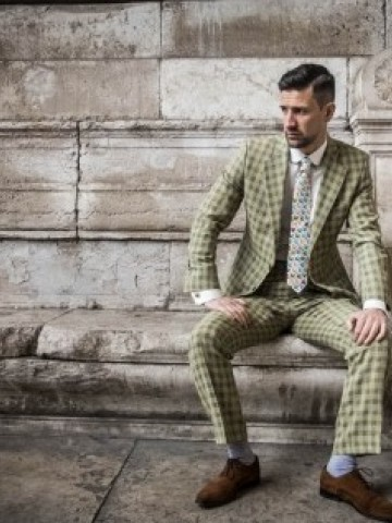 Cream checked suit