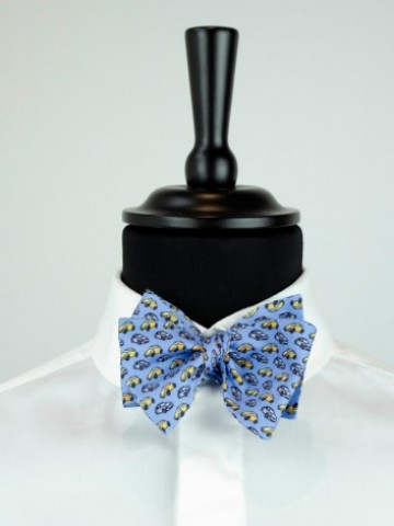 Blue bow tie with car motives
