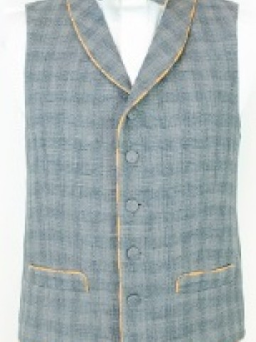Blue checked waistcoat with orange decoration