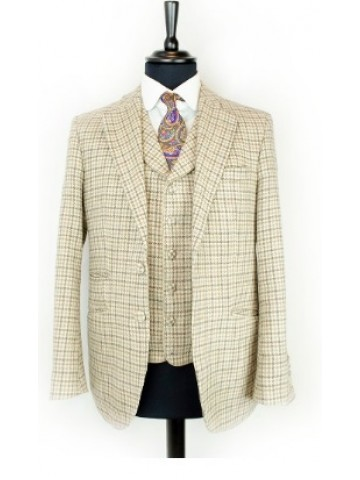 Brown checked jacket with velvet decoration