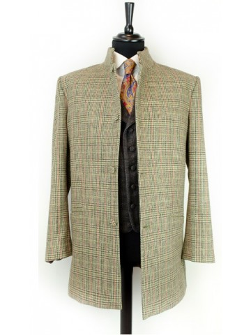 Brown checked overcoat