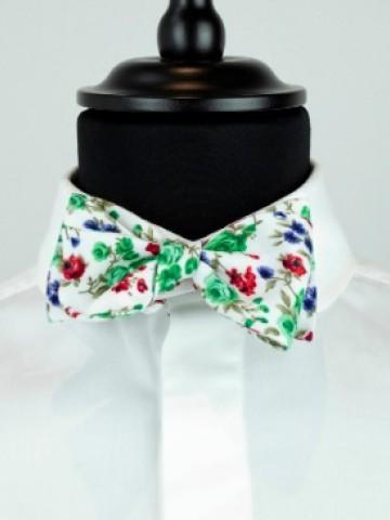 Green flower bow tie