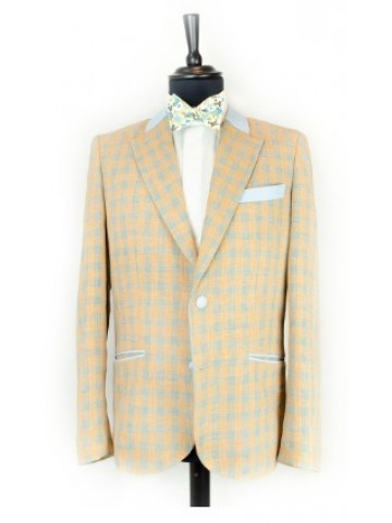 Orange checked jacket with blue decoration