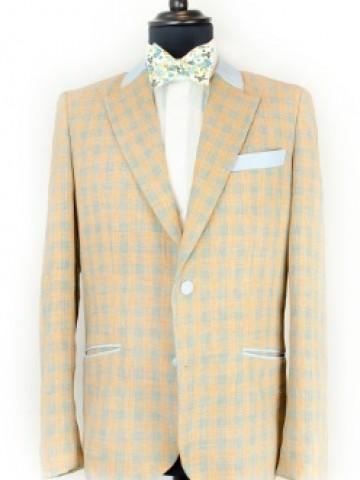 Orange checked jacket with blue decoration