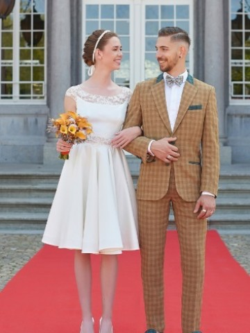 Wedding brown checked suit with decoration