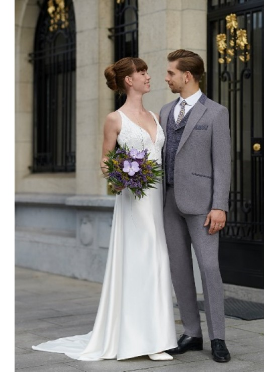 Wedding grey suit with decoration