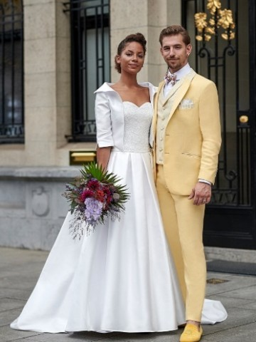 Wedding yellow suit with decoration