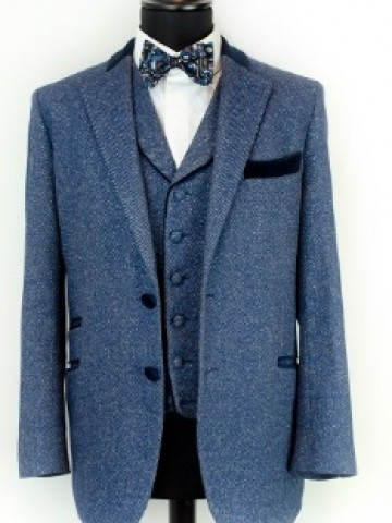Winter blue jacket with navy decoration