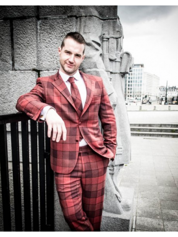 Red checked suit