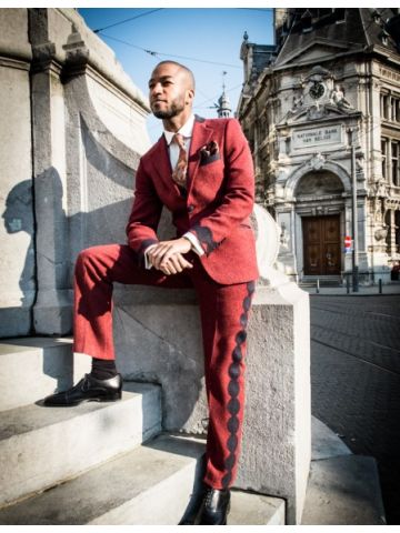 Red designed suit
