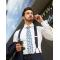 White business shirt, round collar, double cuffs, hidden closure