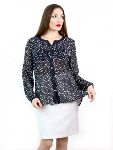 Women's dark blue shirt with white dots