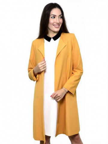 Women's coat without buttons in mustard color