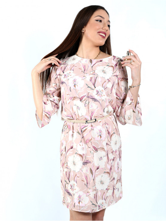 Womens dress with sleeves 7/8 and colored print in ecru