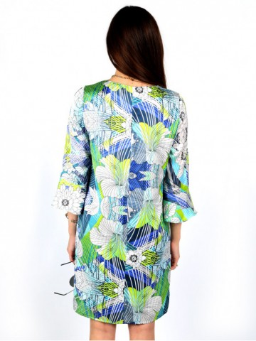 Womens dress with sleeves 7/8 and print with geometric pattern and flowers
