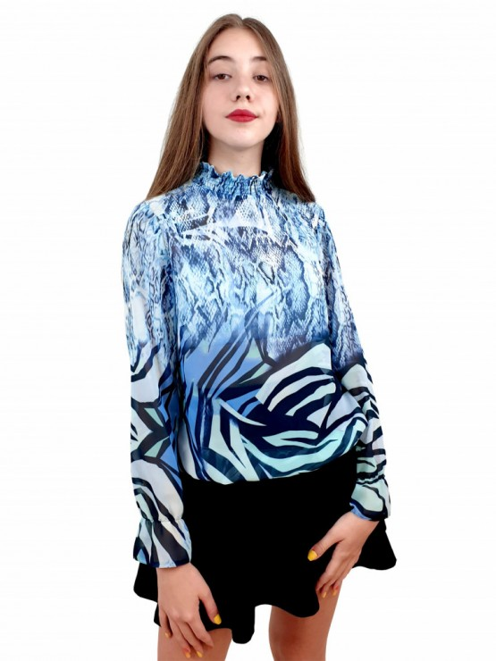 Women's long sleeve blouse with smock elastic neckline with attractive print in blue