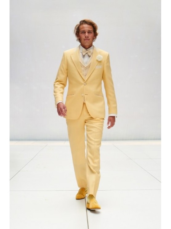 Yellow suit with white deco