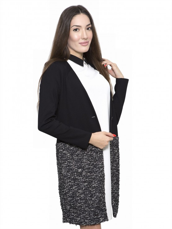 Black women's coat with a lower part in boucle fabric