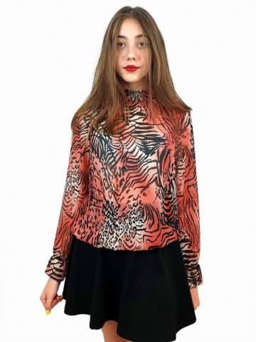 Women's long sleeve blouse with smock elastic neckline with animal print