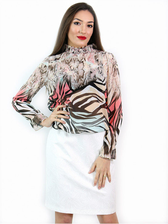 Women's long sleeve blouse with smock elastic neckline with attractive print