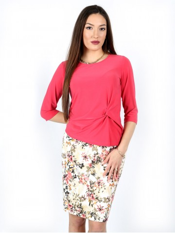 3/4 sleeve blouse with a fancy knot in wild watermelon color