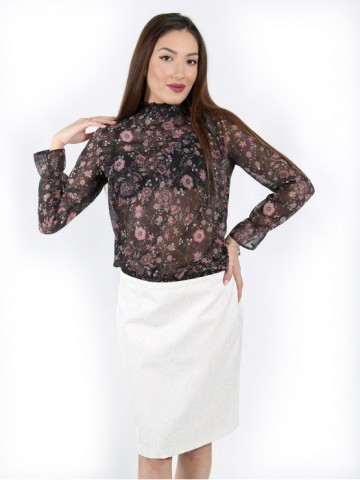 Blouse with longsleeve and elastic waist