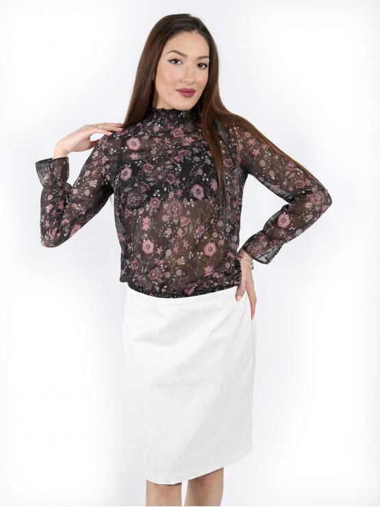 Blouse with longsleeve and elastic waist