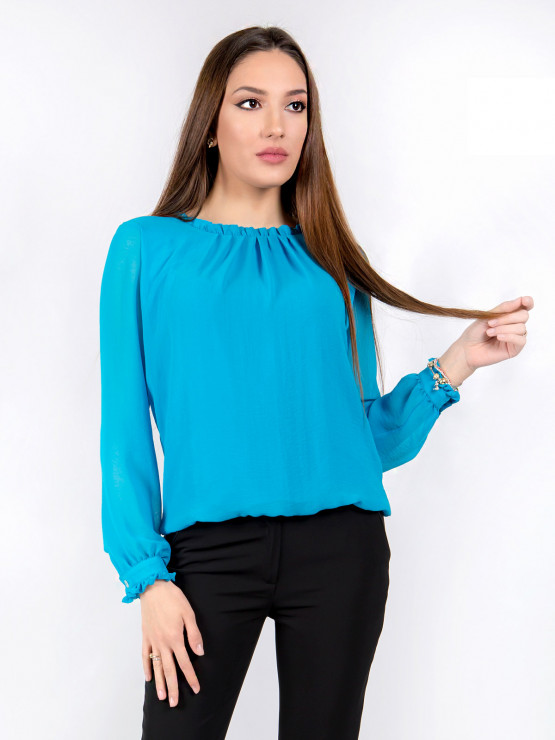 Womens blouse with long sleeves Azalea shifon in blue