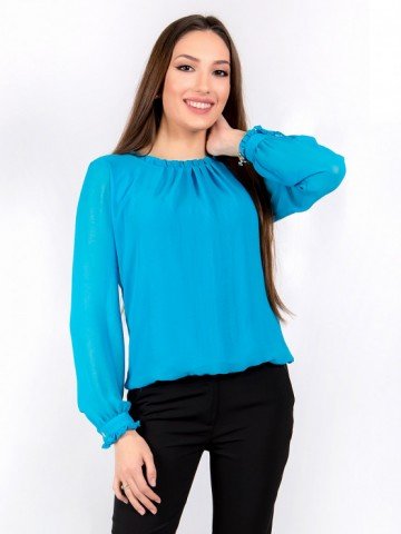 Womens blouse with long sleeves Azalea shifon in blue