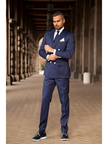 Blue pin stripe suit