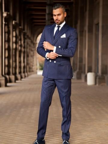 Blue pin stripe suit