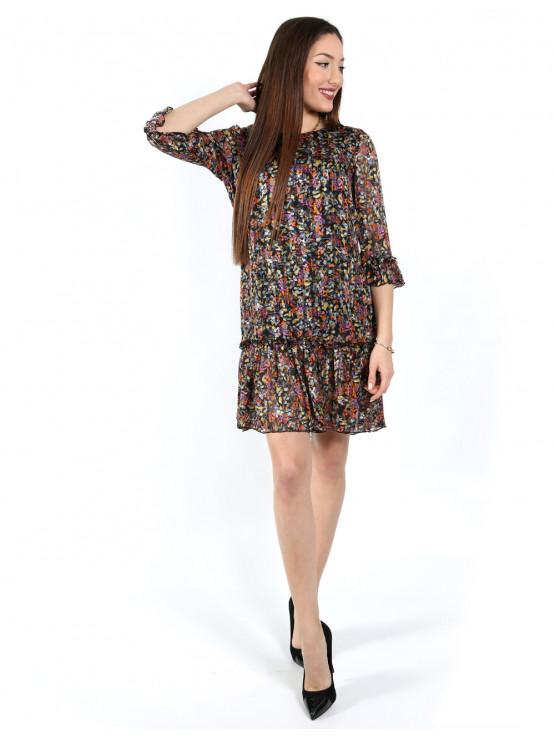 Women's chiffon dress with sleeves 7/8