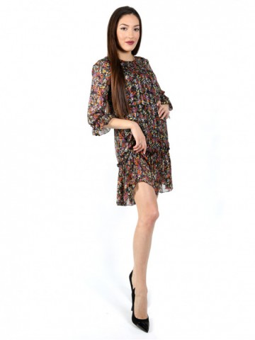 Women's chiffon dress with sleeves 7/8