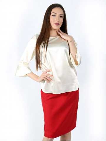 Formal 7/8 sleeve blouse with side slits