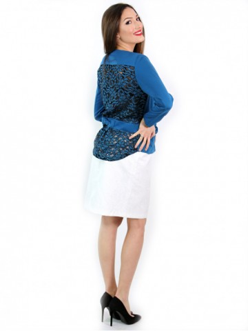 Electric blue jacket with fancy lace back