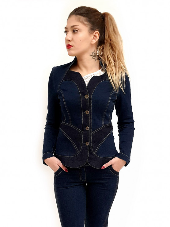 Womens jacket Denim with dots