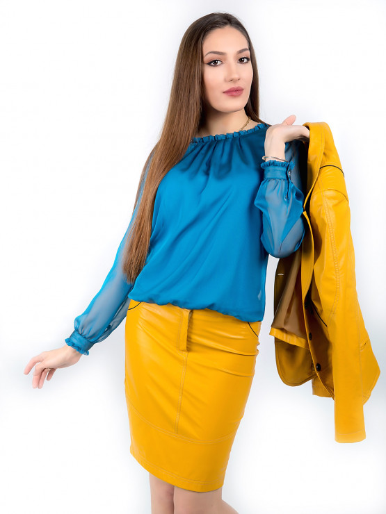Blouse from organza in blue color