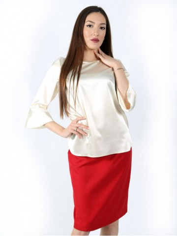 Formal blouse with sleeves 7/8 with side slits