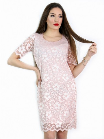 Women's dress from fancy lace in nude pink color