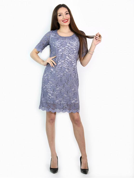 Womens dress fancy lace in light purple
