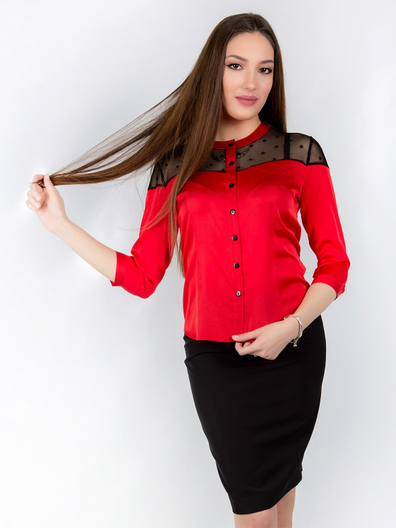 Womens shirt Chloe in red with sleeves 7/8