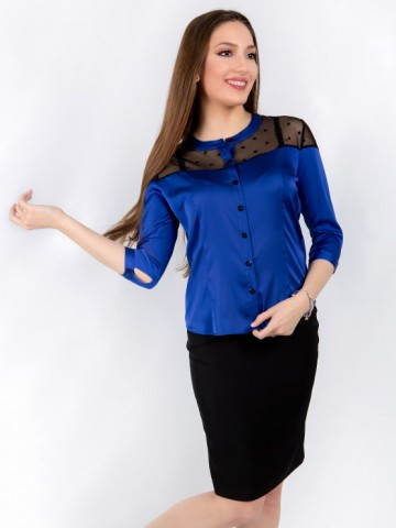 Womens shirt Chloe in blue with sleeves 7/8