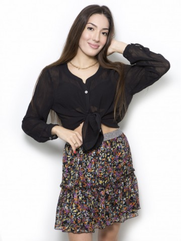 Short flower skirt with a frill