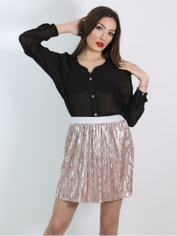 Short skirt from fancy pleated shiny fabric dusty pink