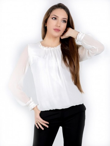 White women's long sleeve chiffon shirt