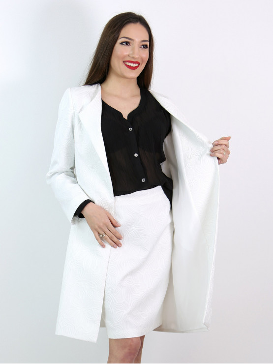 Womens white coat from Jacquard