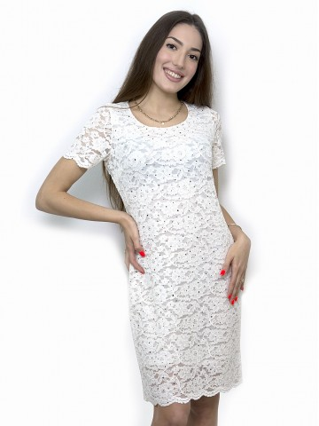 White elastic lace dress