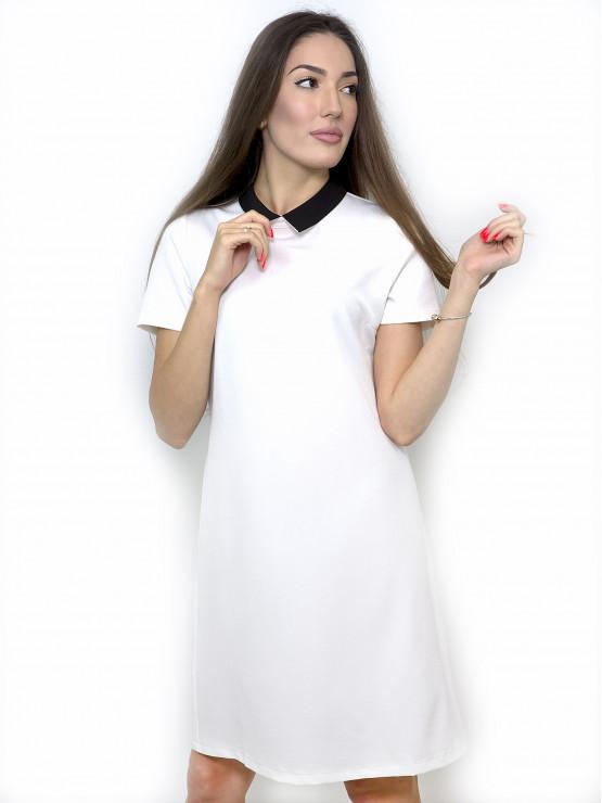 White dress with black collar