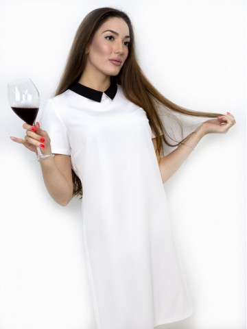 White dress with black collar